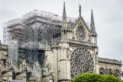 Paris, France - April 16th, 2019: Cathedral Notre Dame de Paris after the tragic fire of April 15th, 2019. royalty free stock image