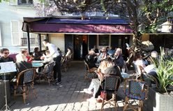 The traditional French restaurant Chez Plumeau in Montmartre in 18 district of Paris, France. Paris, France-April 13 , 2019 : the traditional French restaurant royalty free stock photography