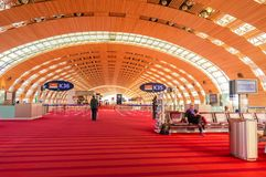 Paris, France, April 1 2017: Unidentified people at the hall of departure in the terminal of Roissy Charles de Gaulle Stock Photography
