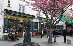 View of the landmark Shakespeare and Company bookstore and cafe located on the Left Bank in Paris, France, across from stock photo