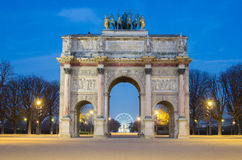 Paris (France). Arc de Triomphe du Carrousel. In the sunrise Royalty Free Stock Photography
