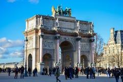 Paris France. Arc de Triomphe du Carrousel taken from the Louvre area in Paris, France Royalty Free Stock Image