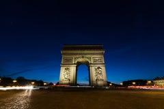 Arc De Triomphe at night in Paris, France. Paris France Arc De Triomphe at night Royalty Free Stock Photography