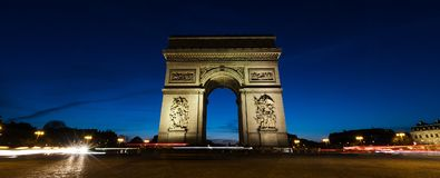 Panoramic view of Arc De Triomphe in Paris, France at night. Paris France Arc De Triomphe at night Stock Photography
