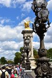 Paris, France, 11 Aug 2018. Pont Alexandre III crowded with people. stock image