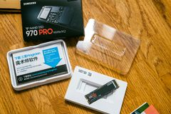 Unboxing packaging Samsung 870 NVME Stock Images