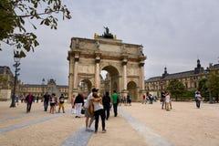 Paris. FRANCE, August 9, 2014: Arc de Triomphe du Carrousel at Tuileries Gardens Royalty Free Stock Photos
