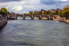 PARIS, FRANCE - AUGUST 30, 2015: The bridge Pont au Change over river Seine in Paris, France. Stock Photos