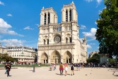 The Cathedral of Notre Dame de Paris on a beautiful summer day Royalty Free Stock Images