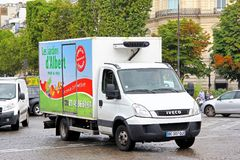 Iveco Daily. Paris, France - August 8, 2014: Commercial delivery truck Iveco Daily in the city street royalty free stock photos