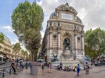 Fontaine Saint-Michel in the heart of Paris France royalty free stock photography