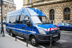 Iveco Daily. Paris, France - August 8, 2014: Gendarmerie van Iveco Daily in the city street stock photos