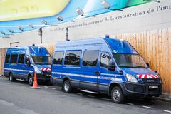 Iveco Daily. Paris, France - August 8, 2014: Gendarmerie vans Iveco Daily in the city street stock photos