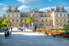 The Luxembourg Palace and Gardens in Paris. PARIS,FRANCE -AUGUST 1,2017 : The Luxembourg Palace and Gardens in Paris Royalty Free Stock Image