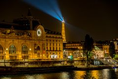 Musee d`Orsay in Paris at night stock photography