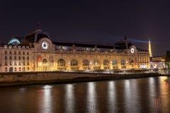 Musee d`Orsay in Paris at night royalty free stock photos