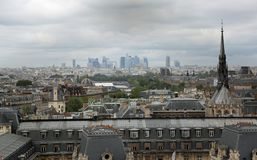 Paris, France - August 20, 2018: Panorama of the city and the sk royalty free stock image
