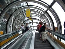 Paris, France-August 07, 2009: People go on the escalator at the Pompidou Museum stock photo