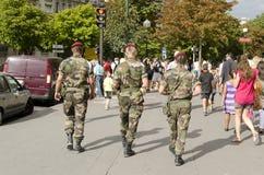 Paris, France-August 13, 2013: soldiers patrol in Paris Stock Photography