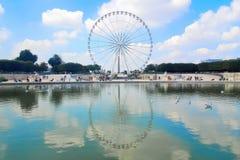 Paris, France. August 30th 2016. Les Tuileries park with the Roue de Paris (Big Wheel of Paris) reflecting in a pound under a su Stock Images