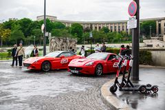 PARIS, FRANCE, Avenue des Nations Unies - MAY 25, 2019: Ferrari rental in paris. You can ride one of the red Ferrari that is stock photography