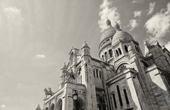 PARIS, FRANCE - Basilica of the Sacred Heart of Jesus. Seen from Montmartre hill in Paris Stock Image