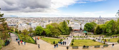 Paris, France - 24.04.2019: Beautiful aerial view of Paris from Sacre Couer, Paris, France royalty free stock photo