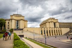 Paris, France - 24.04.2019: Beautiful building of Tracadero gardens at hill of Chaillot in Paris, France. Paris, France - 24.04.2019: Beautiful building of stock images