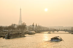 PARIS FRANCE. Beautiful sunset in Paris overlooking the Seine and the Eiffel tower Stock Photo