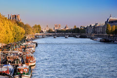 Paris, France. Boats on river Seine Stock Photography