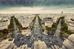 Paris, France busy streets, avenue des Champs-Elysees. Vintage Royalty Free Stock Image