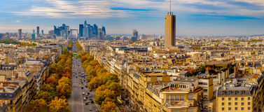 Paris, France - Champs Elysees cityscape. Panorama from the Arc de Triomphe. Stock Photography