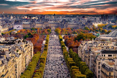 Paris, France - Champs Elysees cityscape. Royalty Free Stock Image