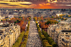 Paris, France - Champs Elysees cityscape. Royalty Free Stock Images