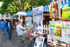 PARIS FRANCE, circa April 2016. Place du tertre in Montmartre Stock Photo