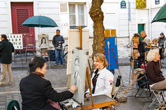 PARIS FRANCE, circa April 2016. Place du tertre in Montmartre Stock Photography