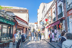 PARIS FRANCE, circa April 2016. Street of the Chevalier de la Barre in Montmartre. Close to the cathedral of the sacre coeur. Montmartre is the most popular Royalty Free Stock Photos