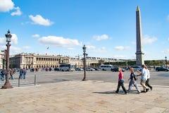 PARIS, FRANCE - circa April 2016: Tourists and citizens on the Place de la Concorde Royalty Free Stock Images