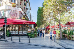 PARIS, FRANCE- circa aril 2016: Typical Parisian restaurant Stock Photos