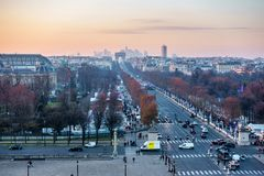 Place de la Concorde and the Champs-Elysees aerial view in Paris Stock Photography