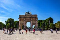 PARIS, FRANCE - CIRCA JUNE 2014: Arc de triomphe du Carrousel on sunny day. PARIS, FRANCE - CIRCA JUNE 2014: View of beautiful Arc de triomphe du Carrousel on Stock Images