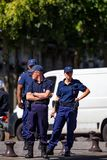 PARIS, FRANCE - CIRCA JUNE 2014: French policemen in street Stock Images