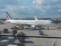 Air France Airbus A320 parked in Paris. PARIS, FRANCE - CIRCA MAY 2015: Air France Airbus A320 parked at the Charles De Gaulle airport in Paris Stock Photo