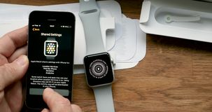 Passcode apple watch security. PARIS, FRANCE - CIRCA 2018: POV man unboxing unpacking latest Apple Watch Series 3 GPS LTE smartwatch wearable computer stock video footage