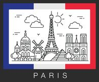 Paris, France. City attractions and the flag of France. Vector color illustration Royalty Free Stock Photos