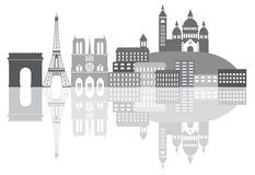 Paris France City Skyline Grayscale Illustration Stock Images