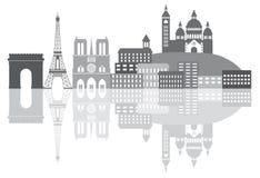 Paris France City Skyline Grayscale Illustration Stock Images