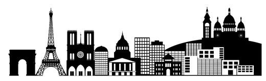 Paris France City Skyline Panorama Clip Art Stock Photos
