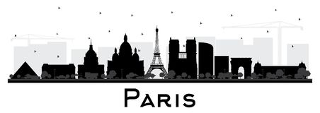 Paris France City Skyline Silhouette with Black Buildings Isolated on White. Vector Illustration. Business Travel and Concept with Historic Architecture. Paris stock illustration