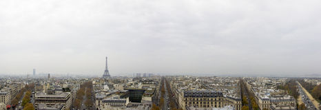 Paris, France City skyline. Taken from the Arc De Triomphe, overlooking Paris city skyline Stock Photography